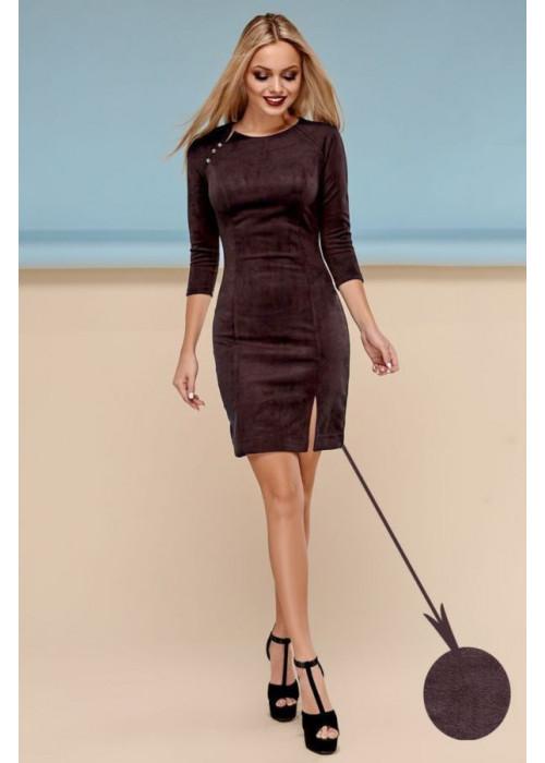 Сдержанное облегающее платье шоколадного цвета
