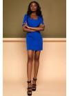 Элегантное синее платье футляр мини с квадратным вырезом