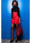 Необычный, эффектный юбка-сарафан из замши красного цвета