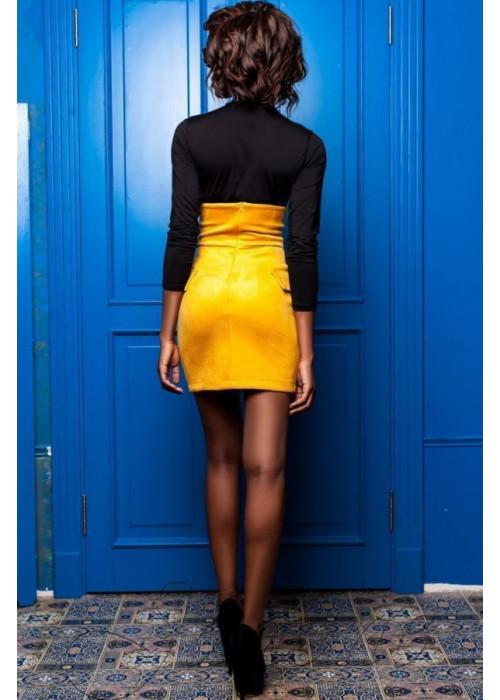 Необычный, эффектный юбка-сарафан из замши желтого цвета