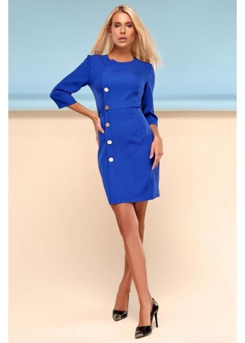 Классическое платье футляр ярко-синего цвета