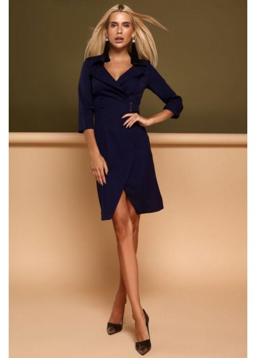 Красивое, стильное, темно-синее платье с необычной геометрией кроя