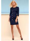 Классическое платье футляр тёмно-синего цвета