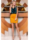 Стильная горчичная замшевая юбка в форме легкой трапеции