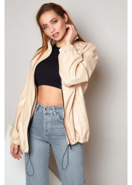 Куртка из экокожи oversize Бест бежевая