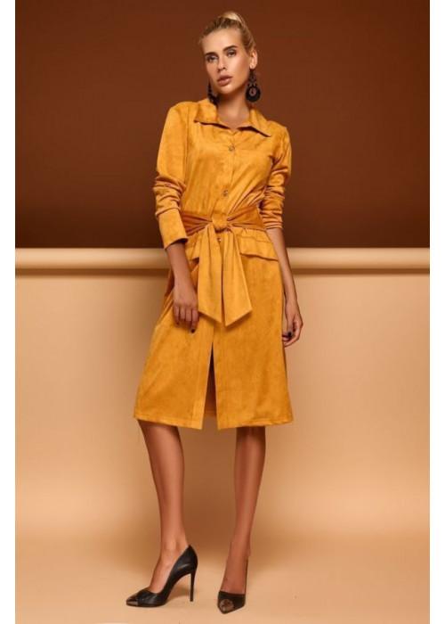 Платье-кардиган горчичного цвета из эко-замши