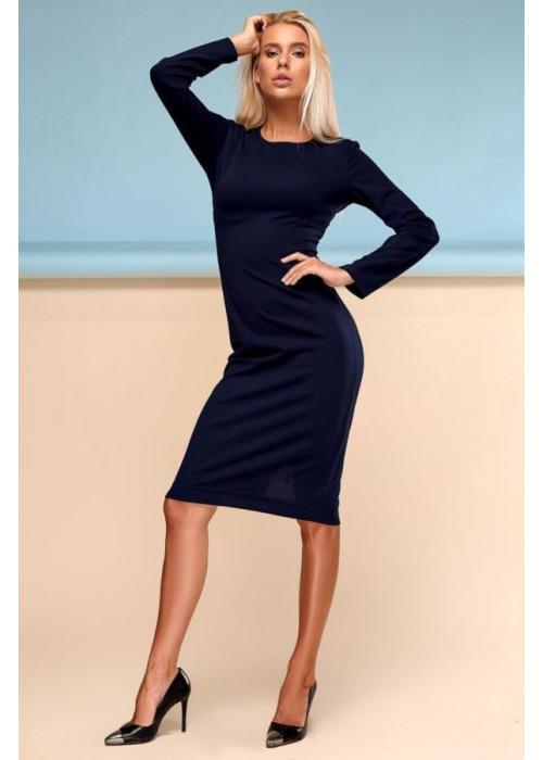 Шикарное платье футляр миди синего цвета
