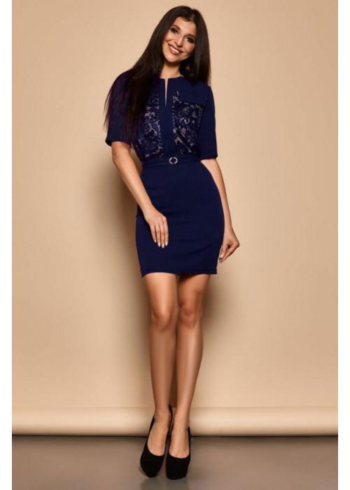 Синее платье футляр со вставками из гипюра на груди