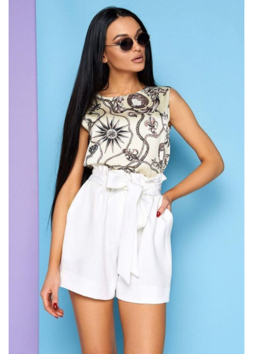 Базовая блуза из шелка «Армани» с оригинальным принтом