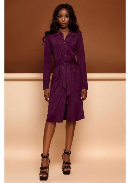 Платье-кардиган винного цвета из эко-замши