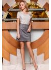 Стильная серая замшевая юбка в форме легкой трапеции