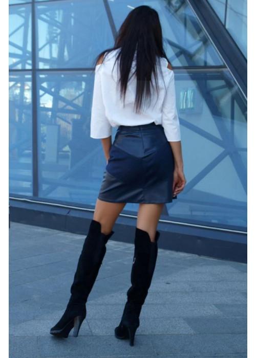 Ультра модная трендовая юбка из эко-кожи
