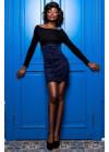 Необычный, эффектный юбка-сарафан из замши синего цвета