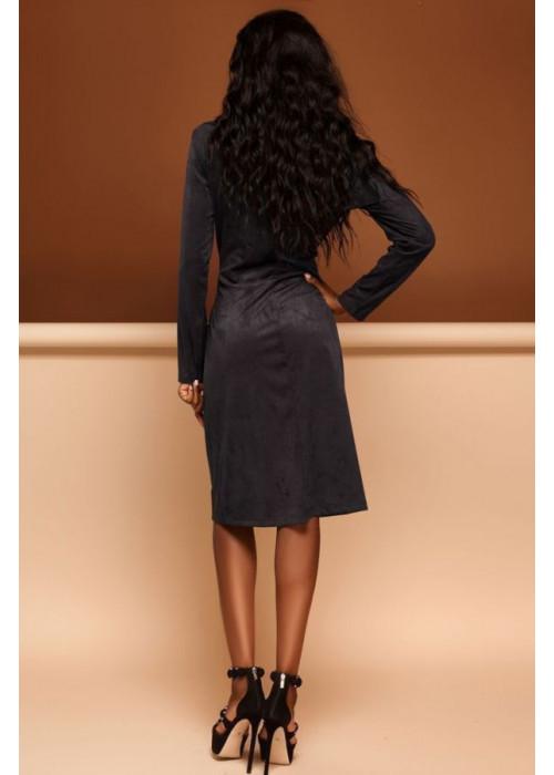 Платье-кардиган черного цвета из эко-замши