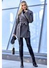 Облегченное меховое пальто из фактурного букле