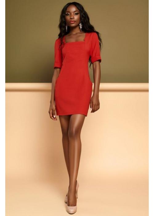 Элегантное красное платье футляр мини с квадратным вырезом