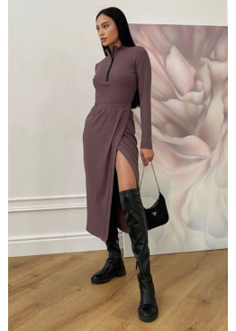 Универсальная юбка миди на запах  из трикотажа, мокко