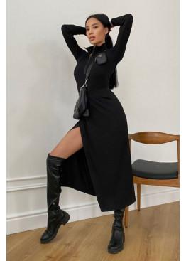 Универсальная юбка миди на запах  из трикотажа, черный