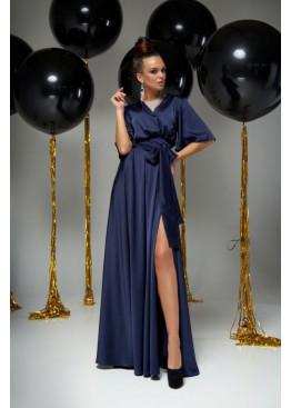 """Модное вечернее платье Ариада из шелка """"Армани"""" с красивым переливом, тёмно-синий"""