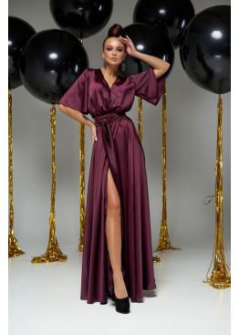 """Модное вечернее платье Ариада из шелка """"Армани"""" с красивым переливом, марсала"""