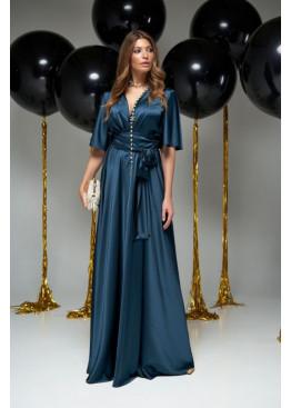 "Модное вечернее платье Ариада из шелка ""Армани"" с красивым переливом, Изумруд"