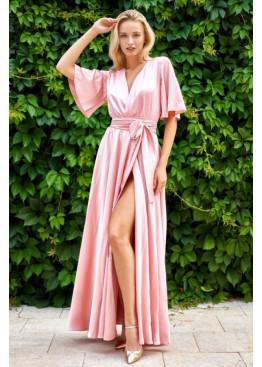 """Модное вечернее платье Ариада из шелка """"Армани"""" с красивым переливом, персиковый"""
