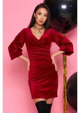Нежное и женственное платье из велюра Дения М19 вино