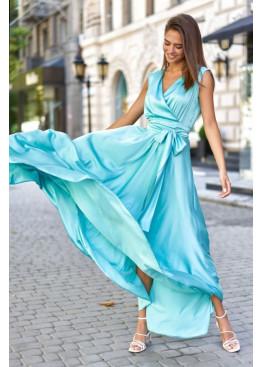 Стильное платье Фурор из королевского шелка, бирюзовый