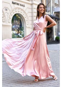 Стильное платье Фурор из королевского шелка, персик
