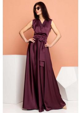 Стильное платье Фурор из королевского шелка, марсала