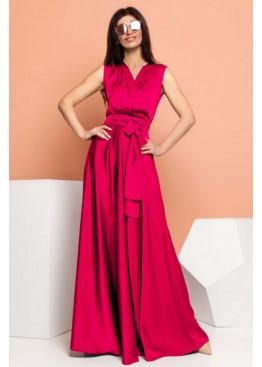 Стильное платье Фурор из королевского шелка, винный