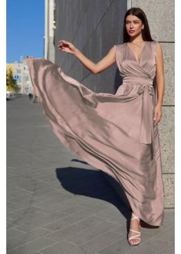 Стильное платье Фурор из королевского шелка, бежево-лиловый