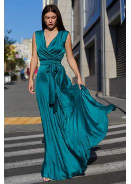 Стильное платье Фурор из королевского шелка, зеленый