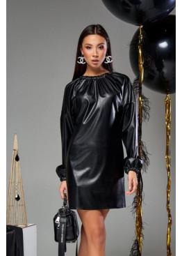 Платье-трапеция мини Хилари М19 черное с черным шнурком