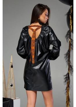Платье-трапеция мини Хилари М19 черное с оранжевым шнурком