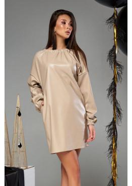 Платье-трапеция мини Хилари М19  бежевое с черным шнурком