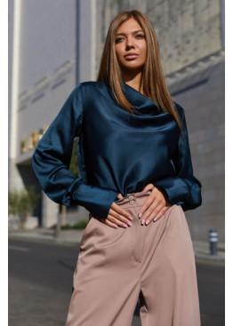 Красивая блуза Камилла из шелковой ткани, Изумруд