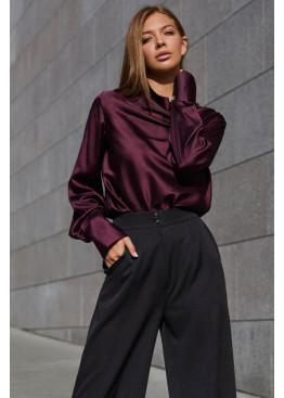 Красивая блуза Камилла из шелковой ткани, Марсала