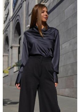 Красивая блуза Камилла из шелковой ткани, Черный