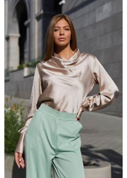 Красивая блуза Камилла из шелковой ткани, Бежевый