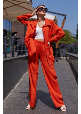 Свободный костюм прямого кроя с рубашкой oversize Кемер, оранжевый