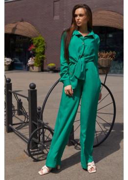 Свободный костюм прямого кроя с рубашкой oversize Кемер, зеленый