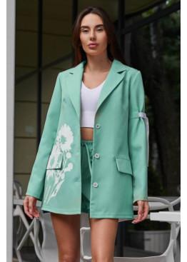 Свободный стильный костюм-двойка Вива: шорты + удлинённый пиджак с оригинальным цветочным принтом, Тиффани