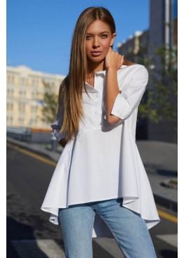 Женственная рубашка из натуральной ткани Квелли белый