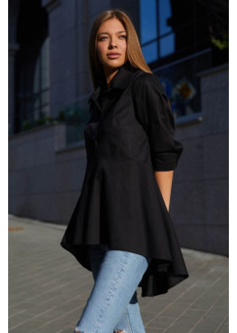 Женственная рубашка из натуральной ткани Квелли черный