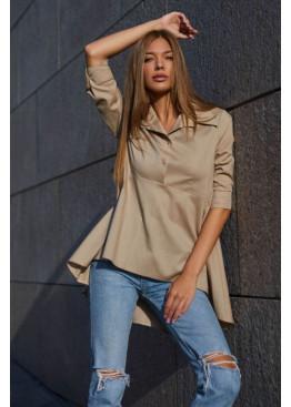 Женственная рубашка из натуральной ткани Квелли бежевый