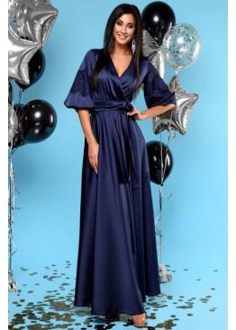 """Роскошное вечернее платье из шелка """"Армани"""", Темный синий"""
