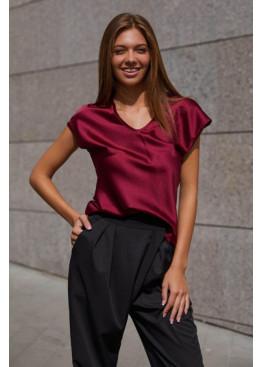 Блуза  из шелковой ткани Маер М21 вино