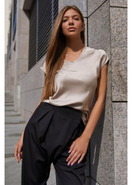Блуза  из шелковой ткани Маер М21 бежевый