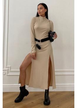 Платье Рената облегающего кроя с высокими разрезами по бокам, бежевый